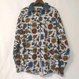 Vintage sunflower button down shirt